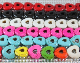 Howlite Heart Beads- 20mm