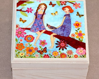 Jewelry Box, Sister Jewelry Box - Best Friend Jewelry Box - Girls Jewelry Box - Gift for Girl - Children Decor - Wooden Trinket Box