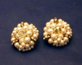 Vintage Faux Pearl/Rhinestones/Bead Clip On Earrings, 1960s