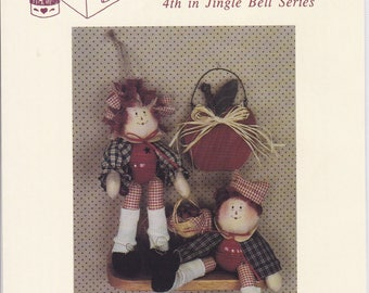 "FREE US SHIP Craft Sewing Pattern Twice as Nice Designs Andy Annie Belle Dolls Jingle Bell body 8"" 161 1992 Uncut"