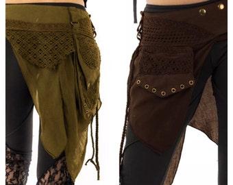 STEAMPUNK utility belt, junk Gypsy, Pocket BELT, hip pack, waist pack, fanny pack, festival clothing, Mfbepp