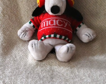 """SNOOPY, Plush, from Peanuts.  MACY'S on Sweater & Big Red EARMUFFS. 19"""", Woodstock on his earmuffs. Perfect for Christmas."""