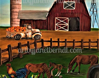Farmhouse 18X24 Original Canvas Painting.Country Life, Red Barn, Horses, Rooster, Pumpkins,Silo