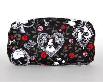 Alice in Wonderland Change Purse - Black & White, Red Pink Roses, Playing Cards, Glasses Case, Spectacles Case, White Rabbit, Cheshire Cat