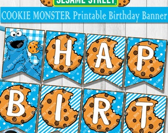 COOKIE MONSTER Birthday Banner, Cookie Monster 1st Birthday, Printable Cookie Monster Decor, Sesame Street Birthday, Instant Download