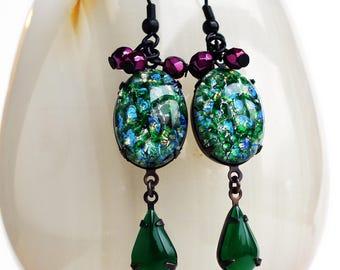Green Opal Earrings Emerald Dangle Earrings Vintage Green Glass Earrings Fire Opal Statement Jewelry Green Pink Rhinestone Earrings