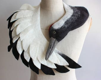Japanese Crane - felted wool animal scarf / stole