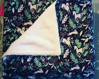 Unicorn Baby Blanket, Cosy Blanket, Baby Pram Blanket, Buggy Blanket, Handmade, Fleece Blanket, Baby Pink
