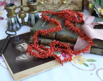 Vintage Natural Branch Coral Flapper Necklace