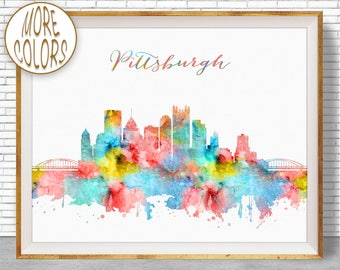 Pittsburgh Skyline Pittsburgh Art Pittsburgh Pennsylvania Office Decor City Skyline Prints Office Poster ArtPrintZone
