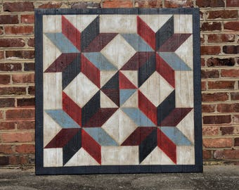 Red White And Blue Four Star Barn Quilt 22x22 Inches