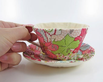 MADE-TO-ORDER ( 1 - 2 Weeks)- Liberty Textile Teacup Tidy- Mixture of the flowers