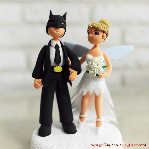 Batman and Tinkerbell couple custom wedding cake topper
