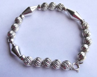 Chunky Sterling Silver Twisted Large Bead Bracelet
