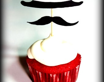 12 Fedora Hat and Mustache Cupcake Toppers-Little Man Party-Mustache Party-The Wise Guy--Mustache on a stick-Cupcake toppers-Mustache theme