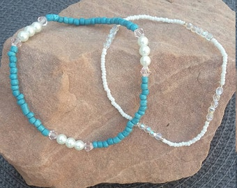 Teal/White Stretch Anklet