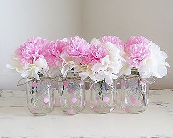 Pink Baby Shower Decorations, Baby Shower Centerpieces, First Communion Centerpieces, Baptism Centerpieces, Mason Jars, Painted Mason Jars