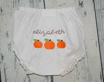 Personalized Pumpkin Bloomers, Monogrammed Baby Bloomers, Fall Pumpkin Diaper Cover