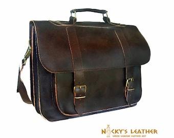 FULL GRAIN LEATHER Bag 17 inch Briefcase  in Dark Brown color