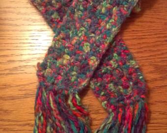Fuzzy Crochet Scarf, Rainbow Scarf, Long Scarf,  Multicolor Scarf, Winter Scarf, Warm Scarf, Tasseled Scarf, Unique Gift, Hand Crocheted