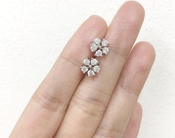 Sterling Silver Rhodium Plated Flower CZ Stud Earrings