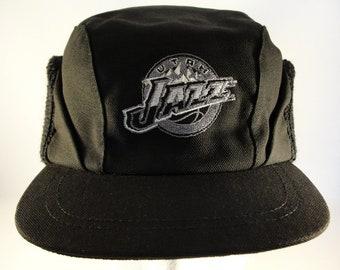 Utah Jazz NBA Vintage Winter Earflap Hat Cap One Size Fits Most Black
