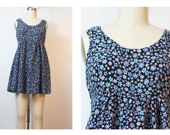 Blue Black Floral Sleeveless Short Summer Grunge Baby Doll Dress Small Vintage 90s