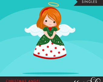 Christmas Angel Clipart. Red Brunette, holiday, ornaments, illustration, graphic, cute, character, religious
