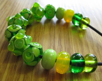 Lampwork Glass Beads. Green and Yellow Glass Bead Set with Spacers. Handmade Australian Artisan Glass Beads. Kiln Fired Glass Beads.