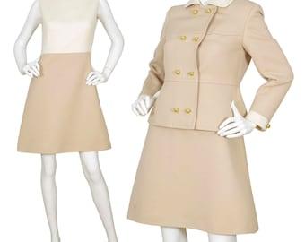 Philippe Venet 1960s Vintage Mod Beige & Cream Mini Dress Set Sz M