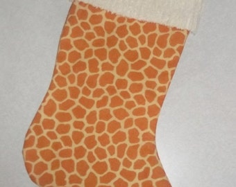 Sweet New Giraffe Print and Chenille Handmade Christmas Stocking with FREE US SHIPPING