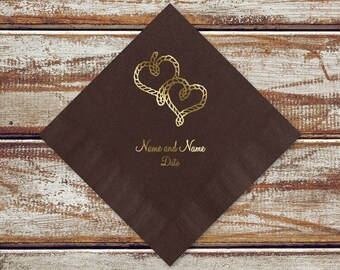 Personalized Rustic Napkins Wedding, Rope Hearts, Cocktail Napkins, Personalized Beverage Napkins, Color Options Available