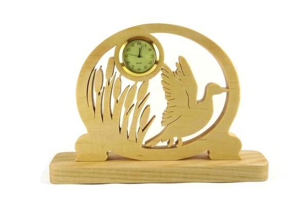 Duck Taking Flight Desk Or Shelf Clock Handmade From Ash Wood By KevsKrafts