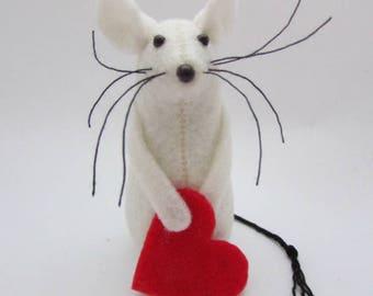 Felt Mice, Valentines Mouse, Felt Mouse,  Mouse Gift,  Valentines
