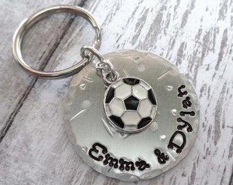 Soccer Keychain - Personalized Dad - Father's Day Gift -  Sport Keychain Soccer Football - Soccer Team - Custom Soccer Fan Gift - K31