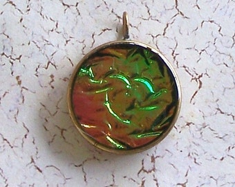 Green & Orange Polymer Clay and Resin Round Pendant in Gold Frame by Carol Wilson of PollyClayDesigns