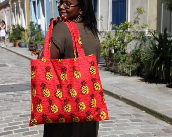 Totebag large format - print - Pineapple - Red Wax - Original and colorful