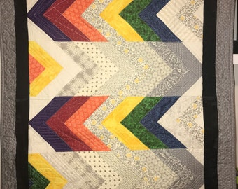 Second Helpings- Rainbow High Contrast Chevron Table Topper or Wall Hanging Quilt