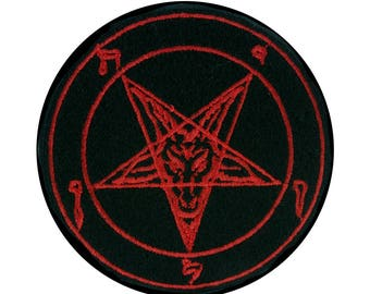 Classic Red Baphomet Inverted Pentagram Patch Iron on Applique Occult Clothing Goat Head - YDS-EMPA-REDBAPH-Patch