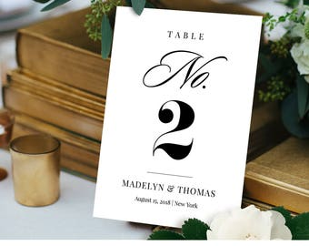 Table Number Card Template, Printable Wedding Table Number, DIY Reception Table Card, 100% Editable, Instant Download, Digital #NC-101TC