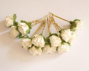 Bridal Hair Accessories, Ivory Rose, Ivory flower Hair Bobby Pin, Brass Bobby pin- set 6