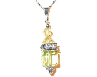 JONQUIL YELLOW 8mm Cube Crystal Pendant Sterling Silver Swarovski Elements