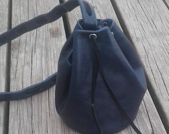 Leather Drawstring Purse / Knapsack