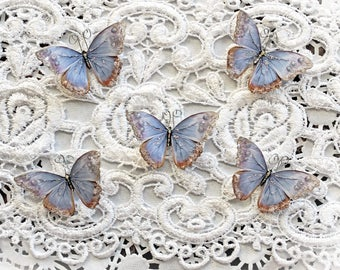 Reneabouquets Tiny Treasures Butterfly Set-  Watercolor Spun Lavender Premium Paper Glitter Glass Butterflies