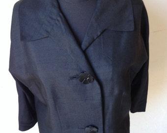"""Vintage Black Silk Suit, 25"""" Waist"""