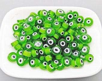 Evil Eye Amulet GREEN 50/100 of Handmade Millefiori Glass Beads for Mosaic Decoration (3-6mm thick, 6-13mm diameter, 40-90gr weight)