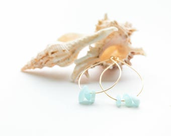 Gold Hoop Earrings with Aqua Sea Glass - Gold Plated Brass - Hypoallergenic - Nickel Free - Lead Free