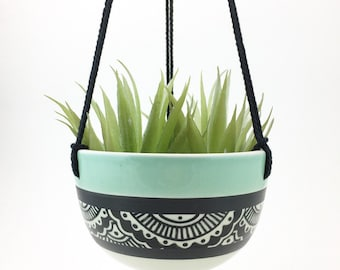 MADE TO ORDER hand painted porcelain hanging planter