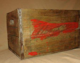 Vintage Vernors Ginger Ale Wood Soda Crate