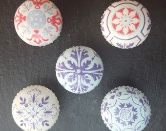 Hand Decorated Pine Moroccan Tile Design Drawer Knob Pull